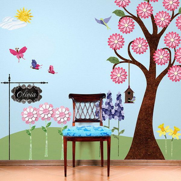 Fine Girls Bedroom Decorating Ideas With Flower Garden Wall Mural Download Free Architecture Designs Oxytwazosbritishbridgeorg