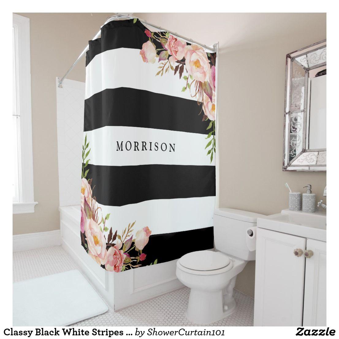 Classy Black White Stripes Vintage Floral Monogram Shower Curtain