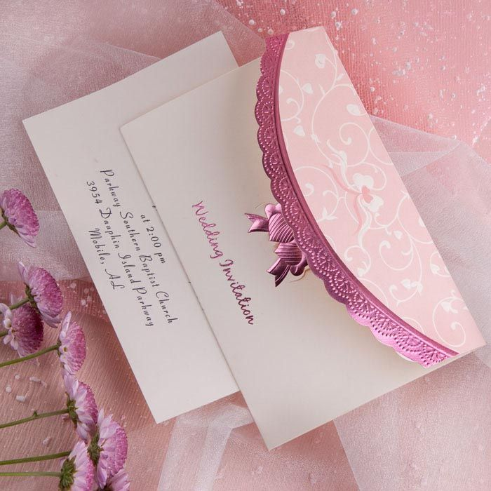 Beautiful Art Deco Embossed Tri Fold Budget White And Pink Wedding Invitation Sets EWRI014