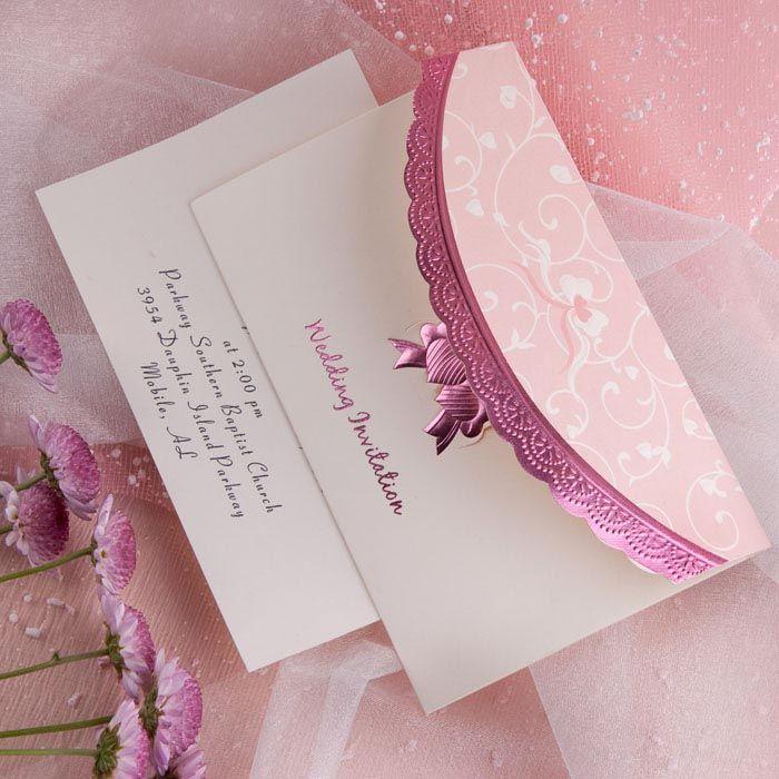 beautiful art deco embossed tri fold budget white and pink wedding invitation sets ewri014 - Pink Wedding Invitations