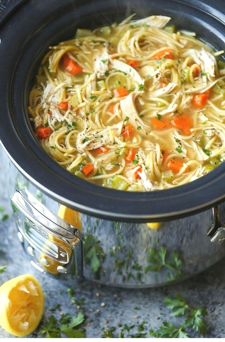 Slow Cooker Chicken Noodle Soup | Crockpot Recipes #healthycrockpots