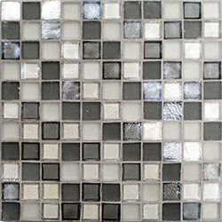 "Oceanside Glasstile...Collection Name: Tessera...Color Name: Sultry...Components: Platinum Irid, Platinum Matte, ...Components:  Shadow Irid, Shadow Matte...Item Description: 1 x 1 Field...Square Feet Per Sheet: .96...Sheet Size: 11 3/4"" x 11 3/4""...Thickness: .24""...Sample Item Number: 85653"