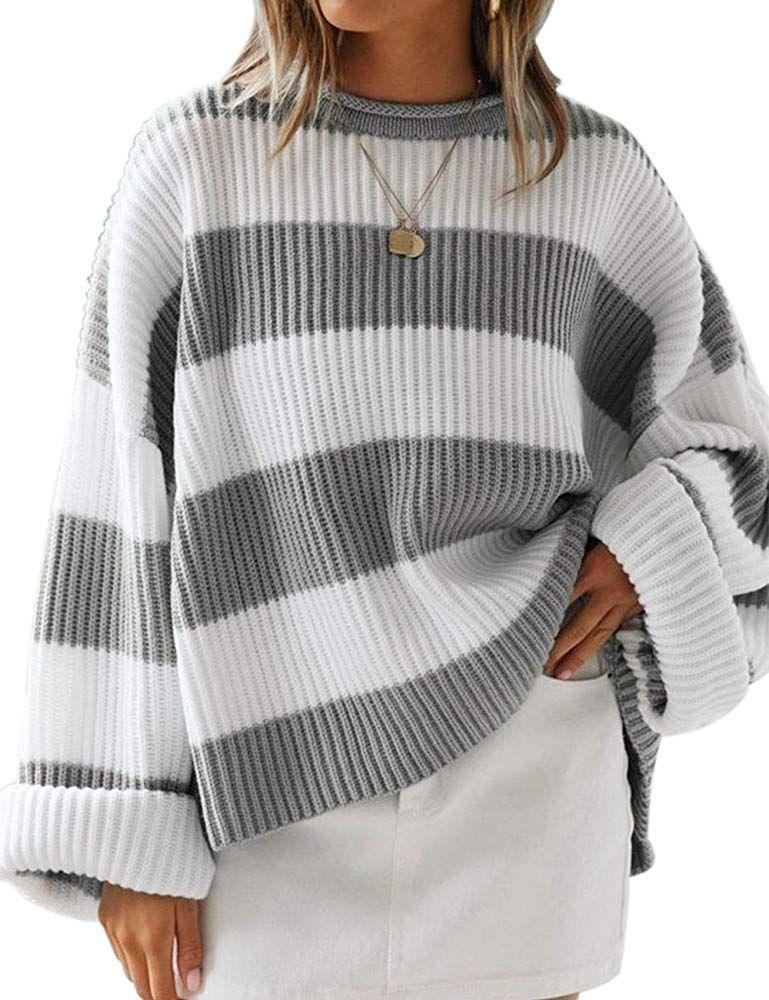ZESICA Women's Long Sleeve Crew Neck Striped Color Block