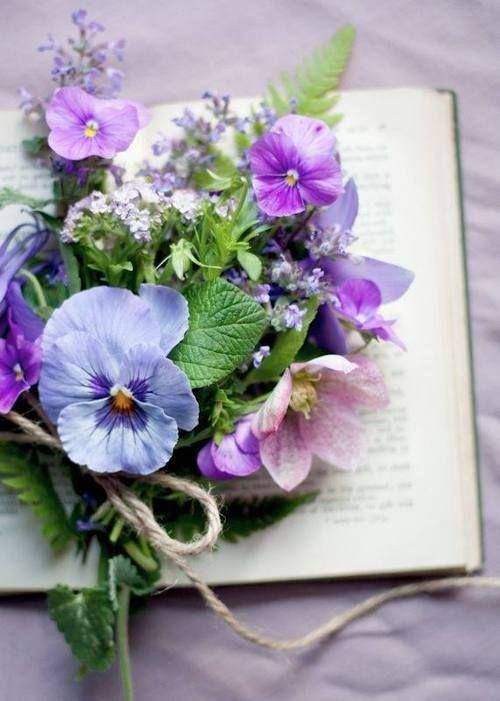 Pansy Bouquet with book. This is a repin from Tumblr, so I don\'t ...