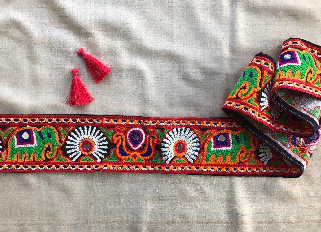 1 Yard Indian Thread work with Mirror Effect Lace Ethnic Ribbon Craft  Border