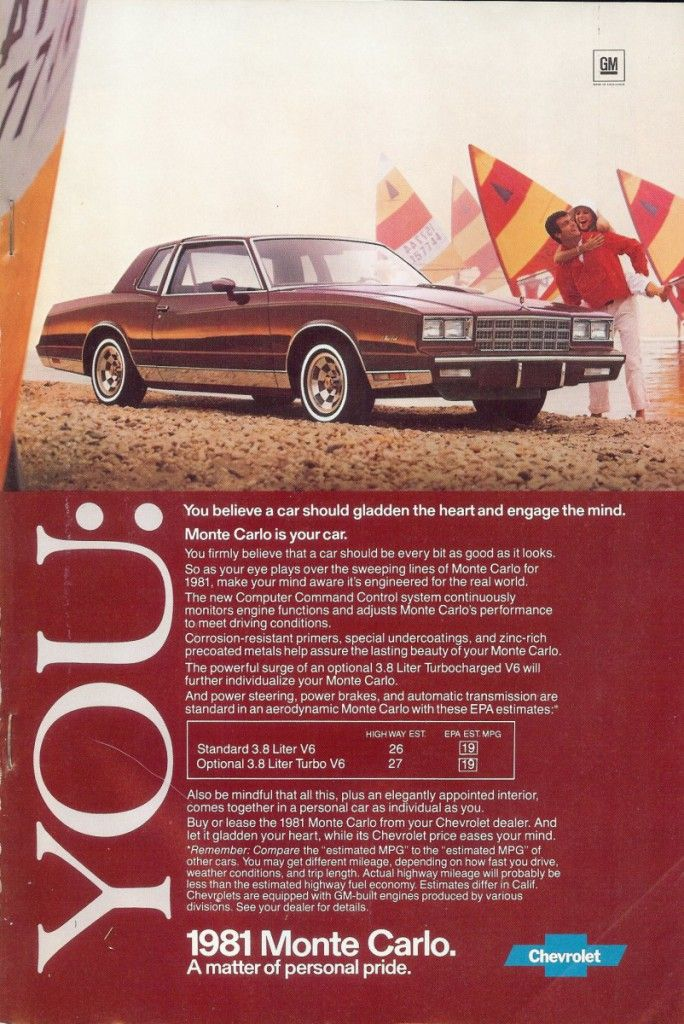 1981 Chevrolet Monte Carlo Turbo Chevrolet Monte Carlo Car Ads