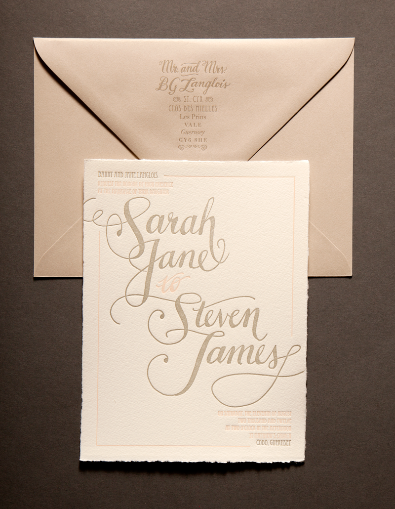 Guernsey Island Wedding invitations. Two color letterpress printed ...