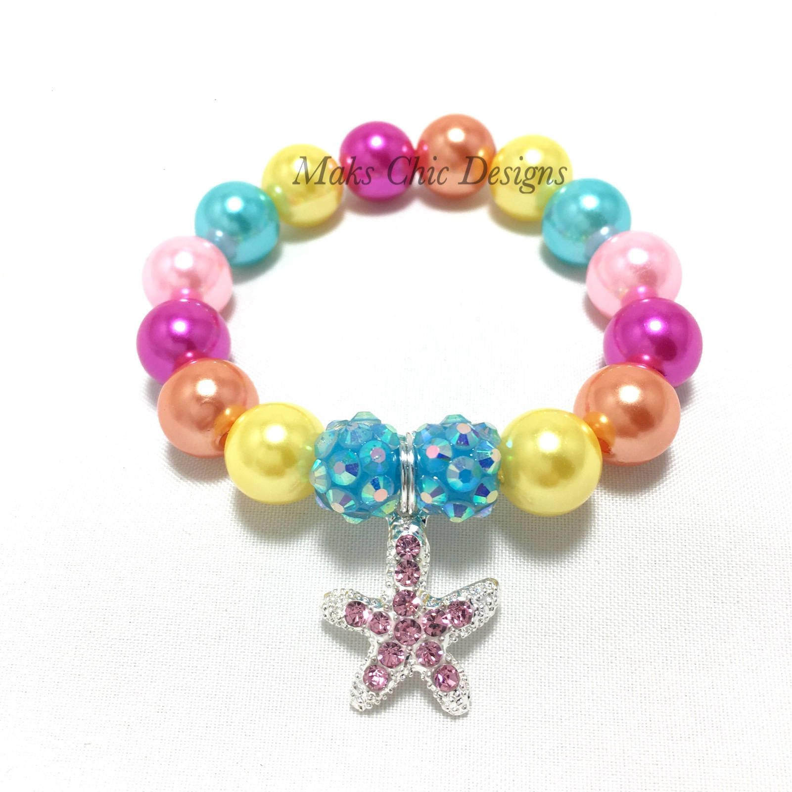 Toddler or girls small beaded pink starfish charm bracelet beach