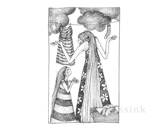 Quirky art card black s drawing
