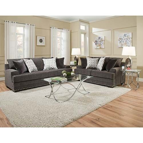 Simmons Beautyrest Glamorous Charcoal Sofa And Loveseat Room View