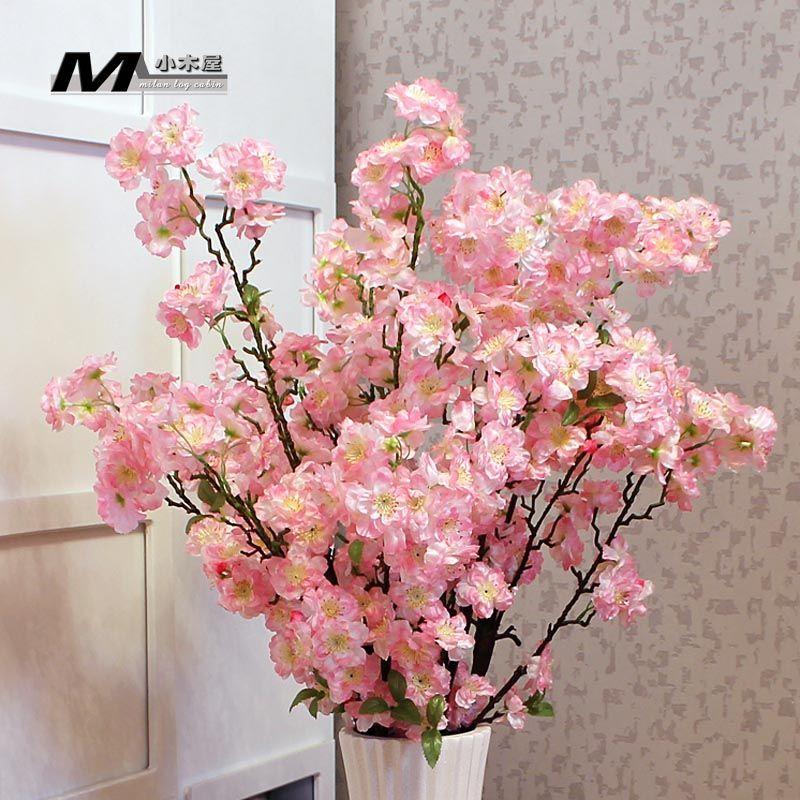 High Artificial Flower Silk Flower Bountyless Home Floor Long Peach Blossom Sakura Artificial Flowers Chiffon F Artificial Flowers Alyssum Flowers Silk Flowers