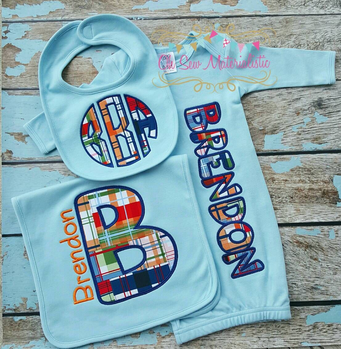 Newborn Gown and Matching Custom Burp Cloth Applique Gown Perfect Shower Gift Adorable Burp Cloth Baby Boy Gown Burp Cloth