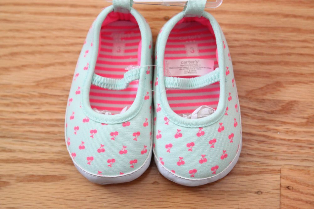 b7d923936e3 Carter s Baby Girl Crib Shoes ~Green with Pink Cherry Print~ Size 3 (6-9  Months)  Carters  CribShoes  Auction  Cherries