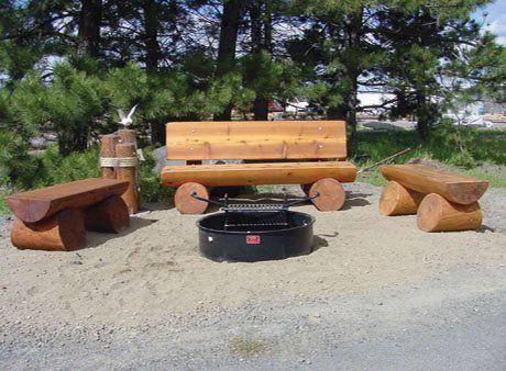 Cedar Finished 2 Log Bench Backyard Fun Campfire