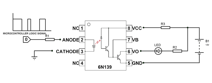 6N139 Optocoupler Circuit | Circuits in 2019 | Circuit ... on