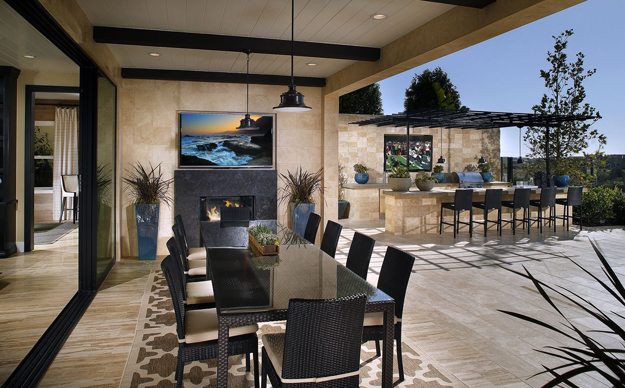 Residence 3 Stylish Outdoor Dining Outdoor Kitchen At Kingston I New Homes At Del Sur In San Diego With Images San Diego Houses Home Indoor Outdoor Living