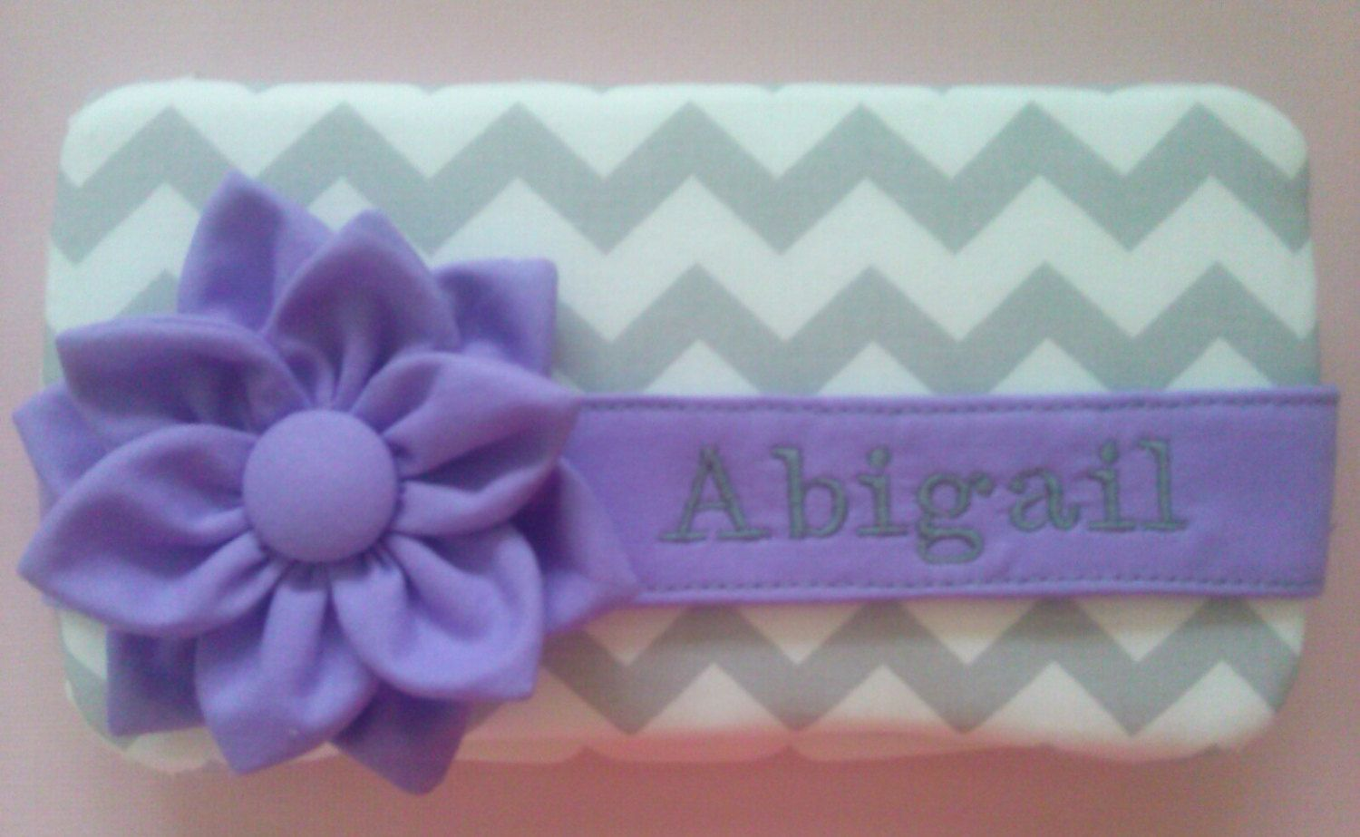 Gray Chevron with Lavender Flower Diaper Wipes Case - pinned by pin4etsy.com