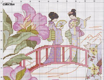 laboresdeesther Punto de cruz gratis : Geishas en el puente a punto de cruz