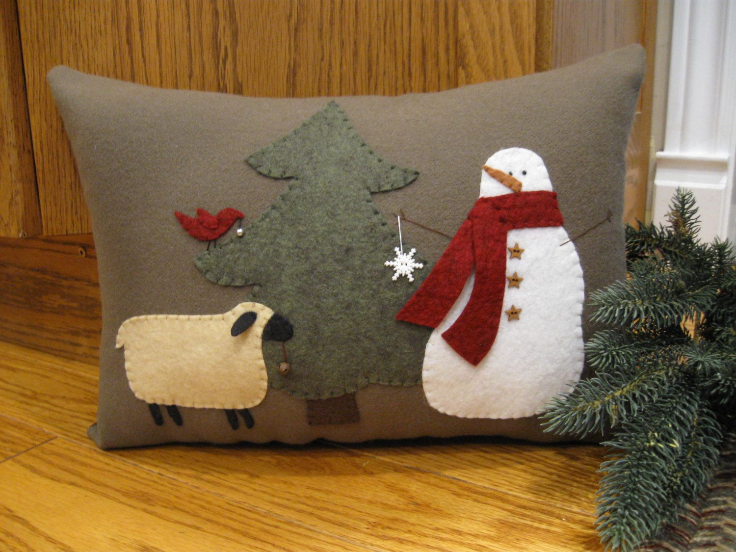 Let's decorate.....Snowman Bird and Sheep Winter by Justplainfolk