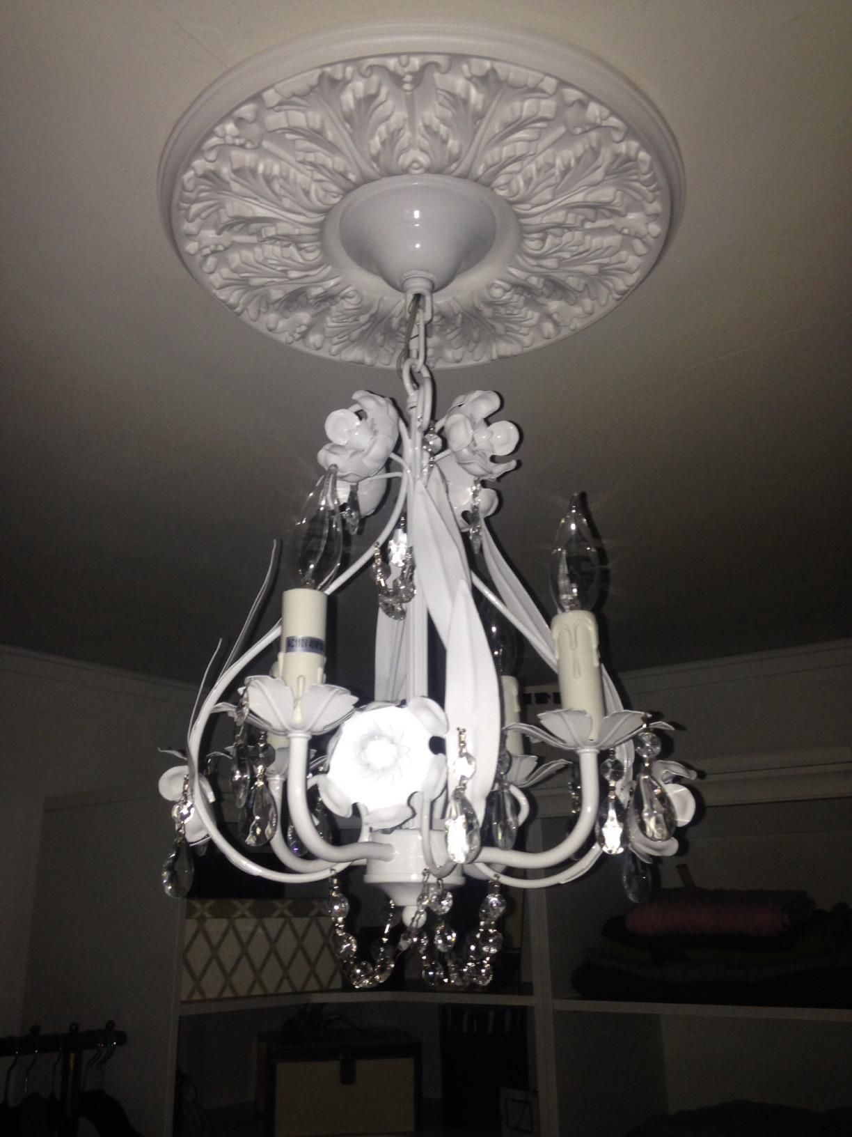 White Wrought Iron Floral Chandelier Crystal Flower Chandeliers