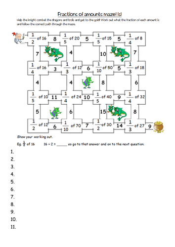 finding fractions of amounts maze worksheets yr4