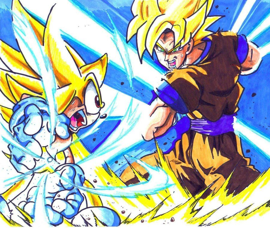Super Sonic Vs Super Sayajin Son Goku 900762  Sonic the