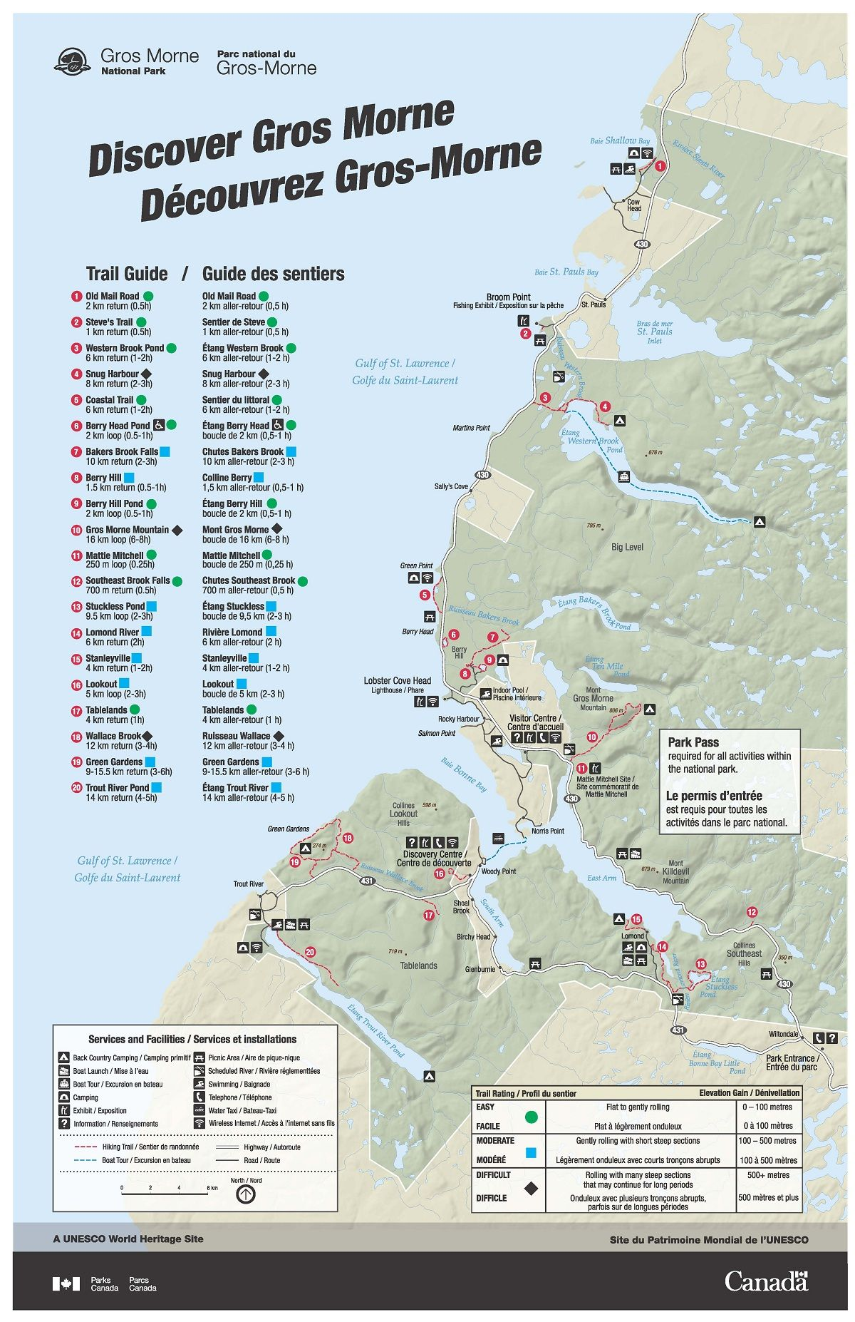 Parks Canada Gros Morne National Park Map Canada Pinterest
