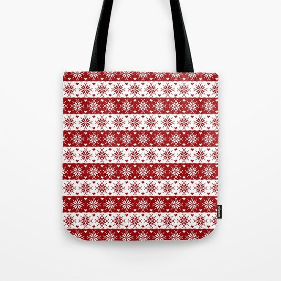 Red Fair Isle Christmas Sweater Snowflakes Pattern Tote Bag ...