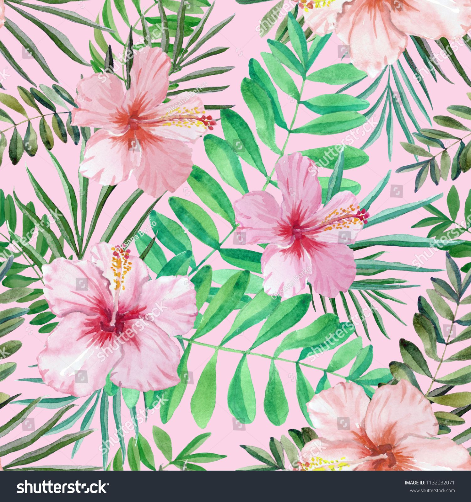 Hand Drawn Tropical Hibiscus Flowers Seamless Watercolor Pattern Botanical Background Concept For Texti Hibiscus Flowers Watercolor Pattern How To Draw Hands