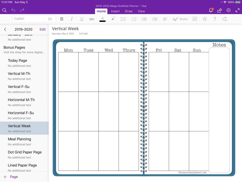 2019 2020 Mega Planner For Microsoft Onenote Teal Academic Etsy