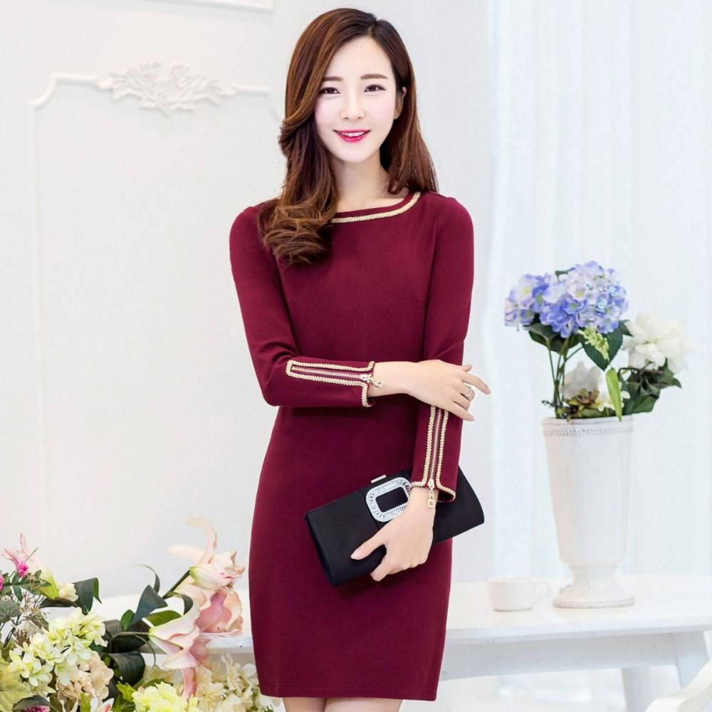 Click to buy ucuc pinky is black spring autumn women onepiece dress