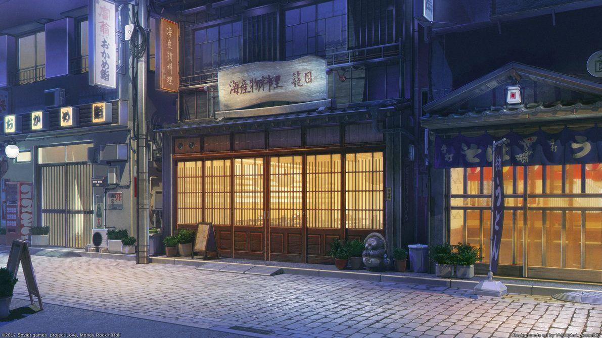 Restaurant Street Night By Arsenixc Em 2020 Cenario Anime Fundo