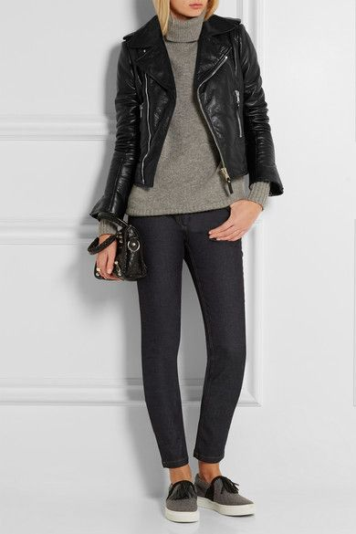 Balenciaga | Textured-leather biker jacket | NET-A-PORTER.COM
