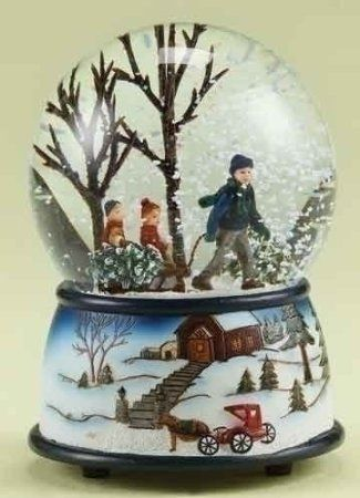 5 Musical Kids With Tree On Sled Christmas Snow Globe Glitterdome