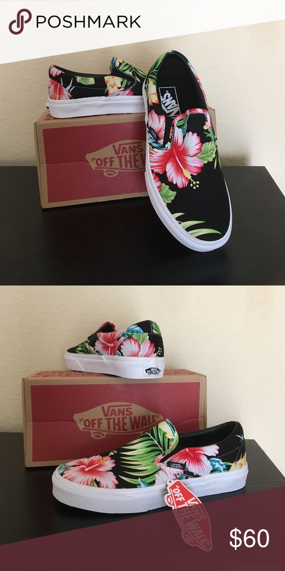9671f2ee28 Vans Hawaiian floral hibiscus flower shoes New with box women s size 6.5 Vans  Shoes Athletic Shoes