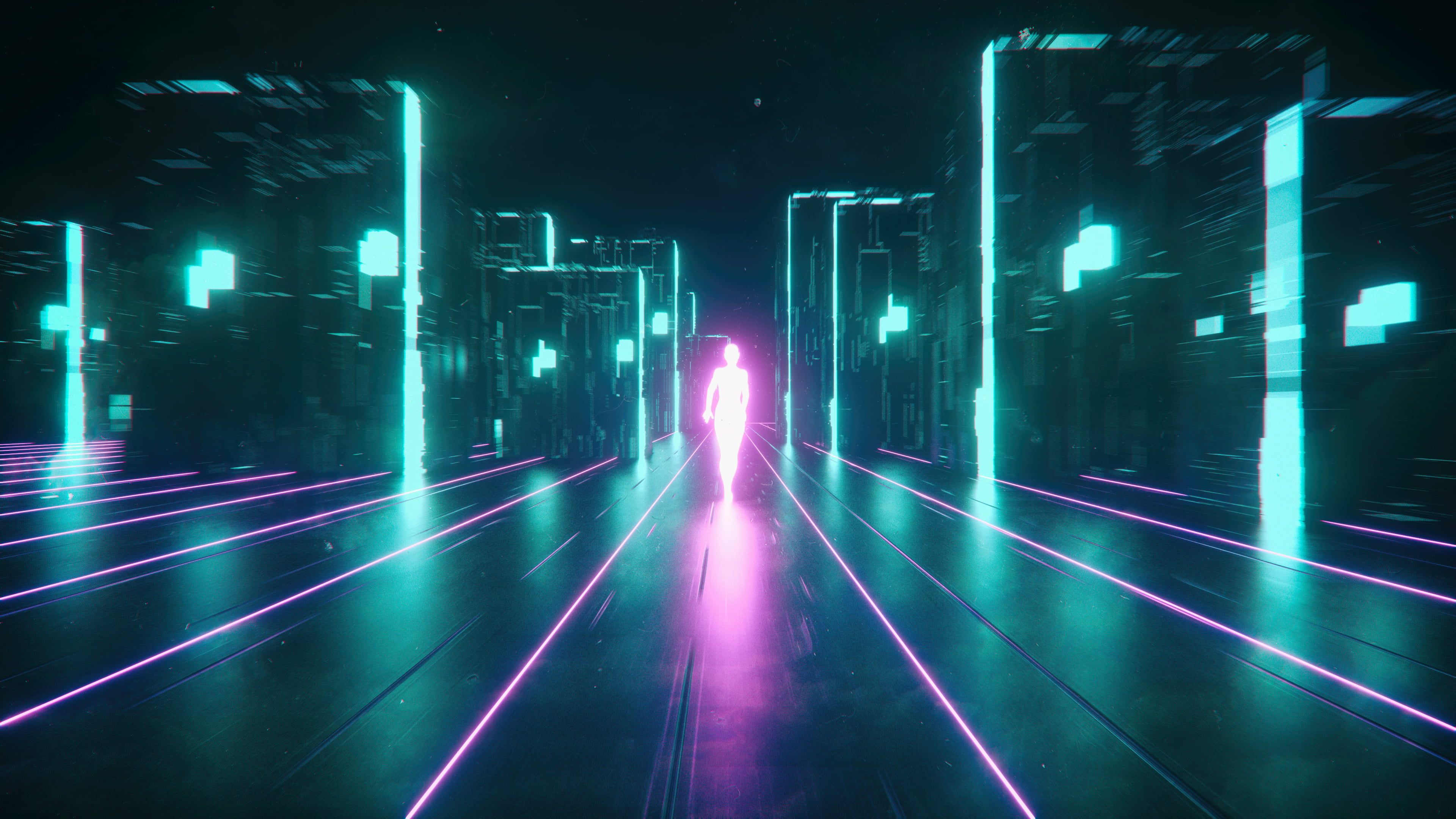 Pink And Teal Digital Wallpaper Neon Cyberpunk 4k Wallpaper Hdwallpaper Desktop In 2020 Digital Wallpaper Hd Wallpaper Robot Wallpaper