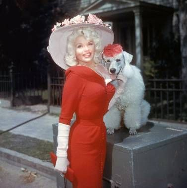 Jane Mansfield and her poodle know how to rock an Easter Bonnet! | via beauty bombshells