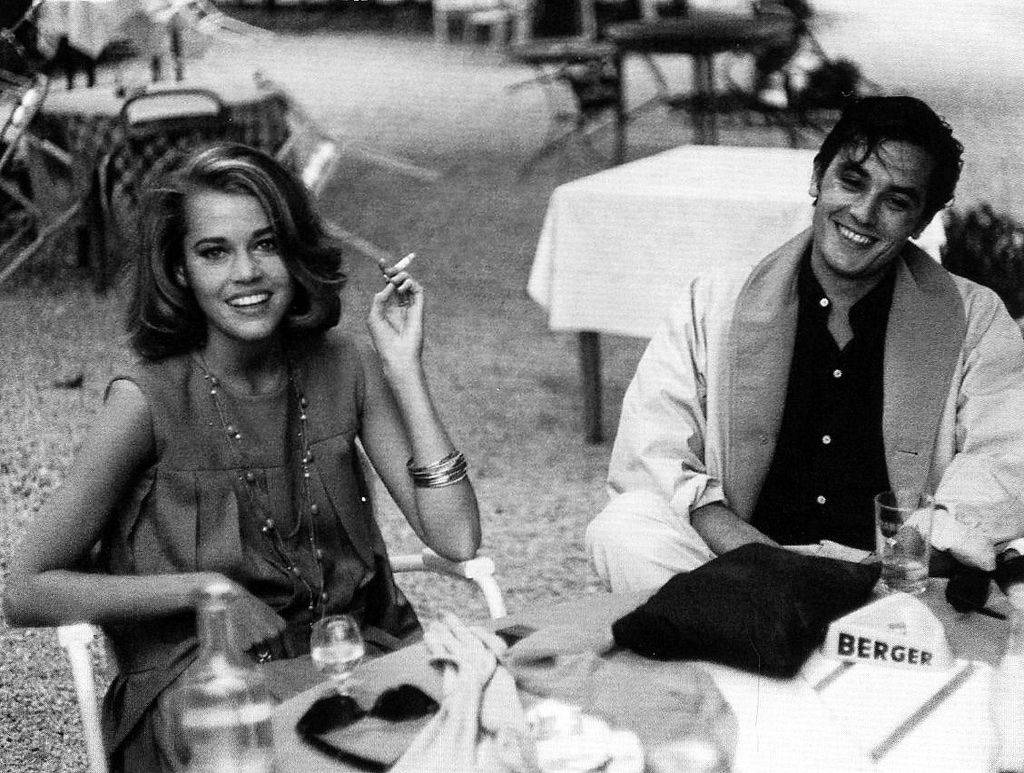 "Jane Fonda and Alain Delon on the Riviera while filming ""Les Félins"", directed by Réne Clément, photo by Edward Quinn, 1964"