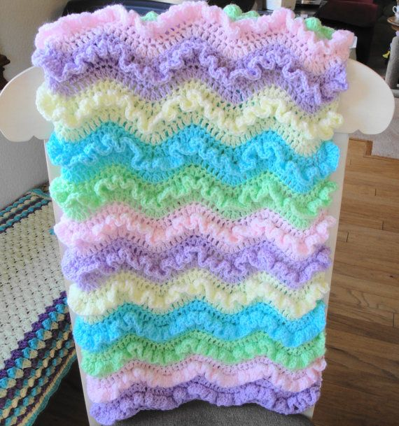 A lovely crochet baby blanket with frilly by AuntieJenniesAttic ...