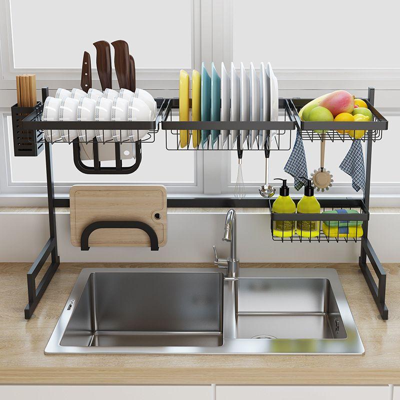 black stainless steel kitchen rack sink