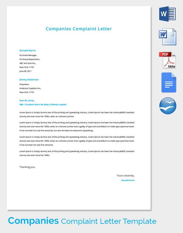 Complaint Letters Free Word Pdf Documents Download Letter Template