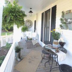 Eclectic Exterior Farmhouse Back Porch And Garden