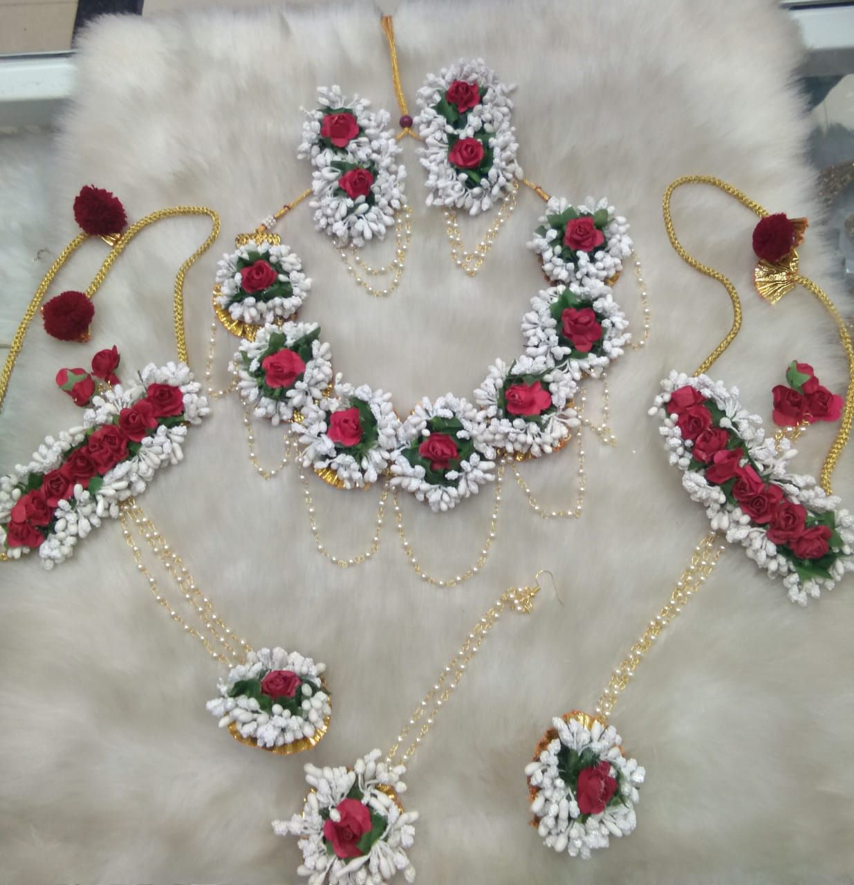 Red Artificial Flower Wedding Jewelry Floral Pearl Necklace Indian Set For Women