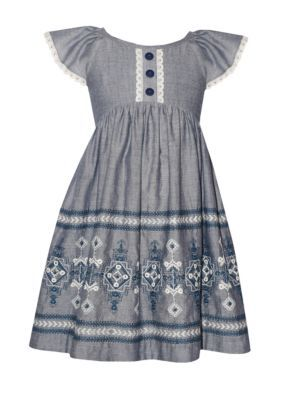eee53bd79579 Bonnie Jean Embroidered Chambray Dress Toddler Girls