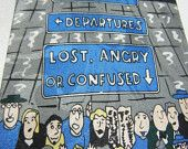 LAST CHANCE: Lost Angry Confused necktie / designer mens tie / Airport theme / Crowd / Arrivals / Departures / humor blue / mens tie