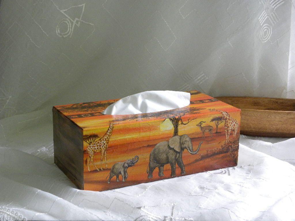 Boite mouchoirs en bois d cor e pour les amoureux d 39 afrique accessoires de maison par si - Boite a mouchoirs maison ...