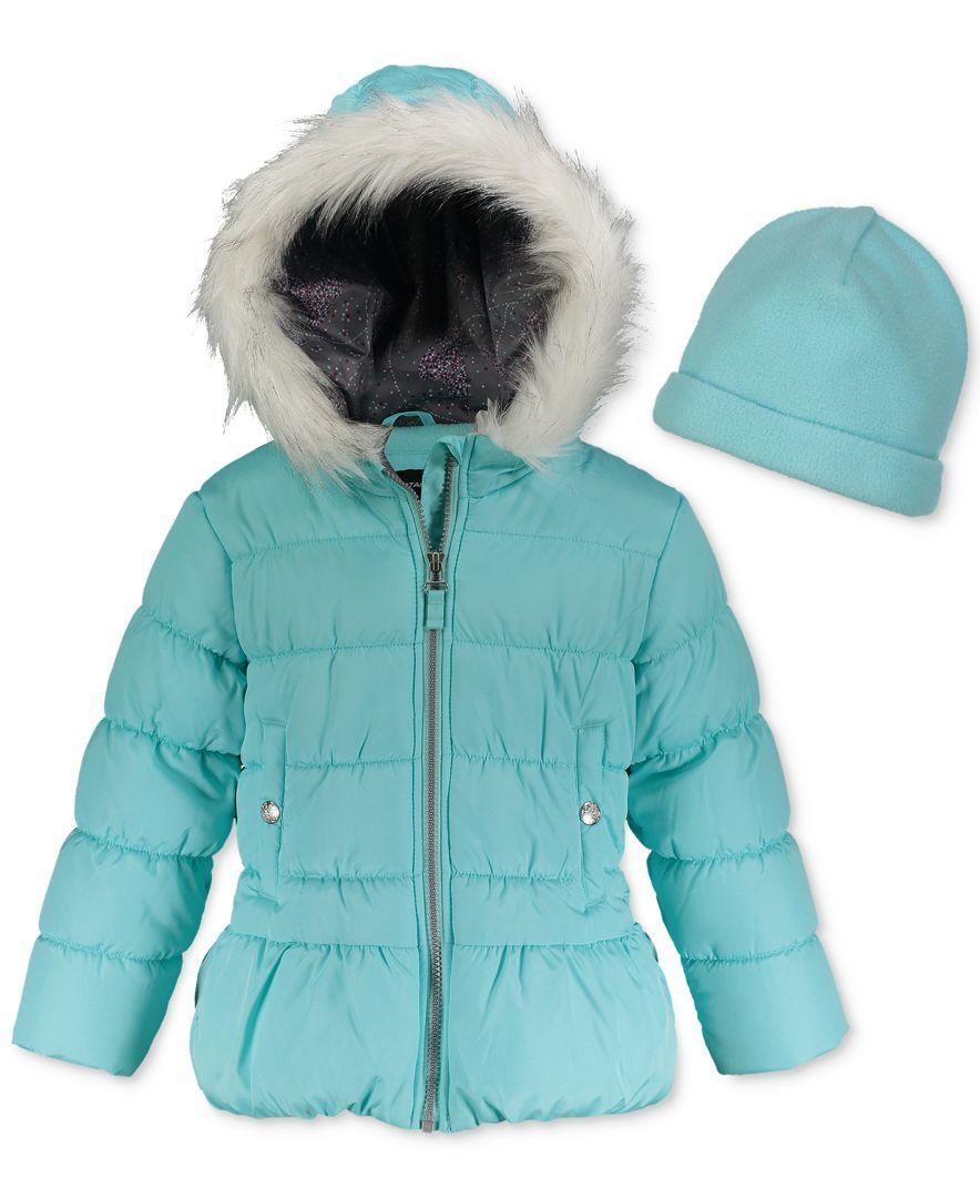 London Fog Hooded Puffer Coat With Faux-Fur Trim & Hat, Big Girls (7-16)