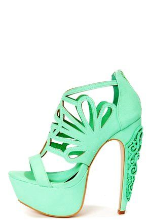 Mint Green Caged Cutout Platform High Heels