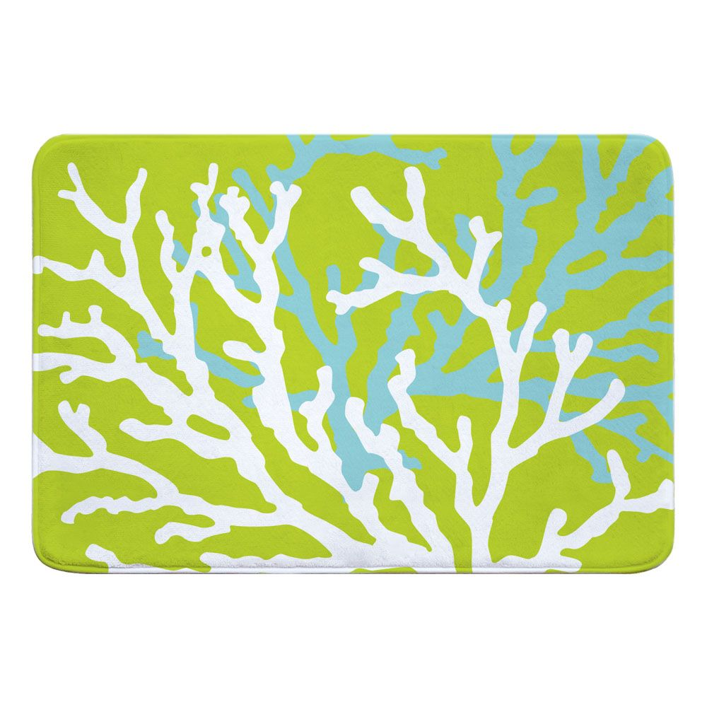 Coral Duo On Lime Memory Foam Bath Mat Colorful Rugs Memory