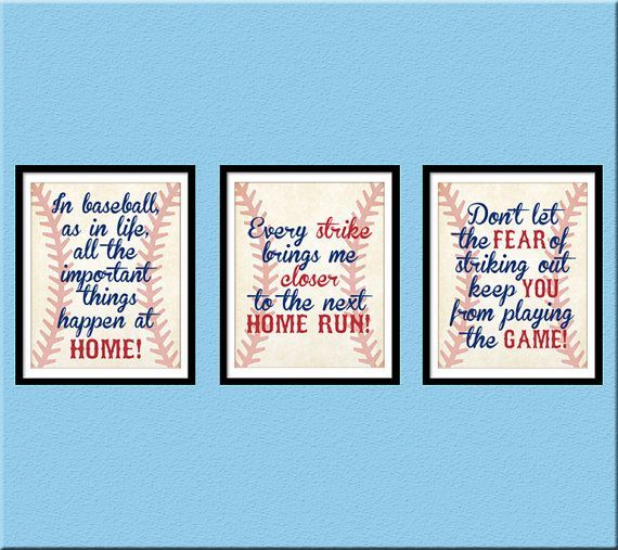 INSTANT DOWNLOAD Baseball Quotes, Boy Room Decor, Home Run, Babe Ruth  Quote, Nursery Decor, Baseball, Set Of 3 Printable 8x10 JPEG